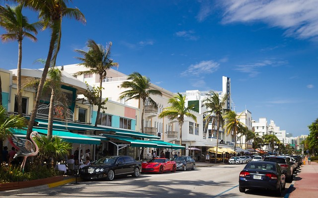 The Famous Ocean Drive in the Art Deco District, SoBe, Miami Beach, Florida