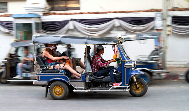 Tuk Tuk outside Wat Chedi Luang, Chiang Mai, Thailand