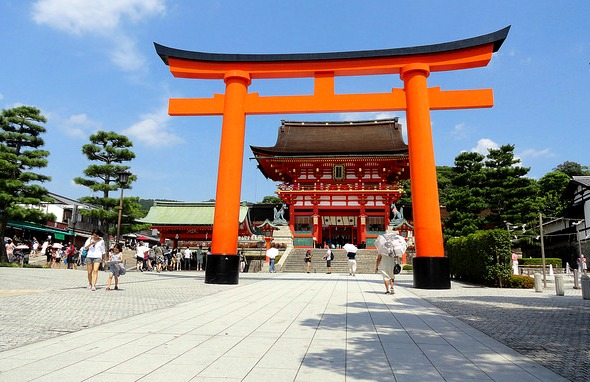Giant Torii Gate in front of the Romon Gate, Shrine's Entrance, Fushimi Inari, Southern Kyoto, Japan
