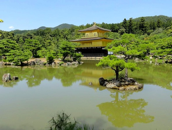 Lake and Kinkakuji Temple (Golden Pavilion), North Kyoto, Japan