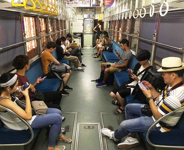 Travelling Aboard the Randen, Keifuku Railway, Kyoto, Japan