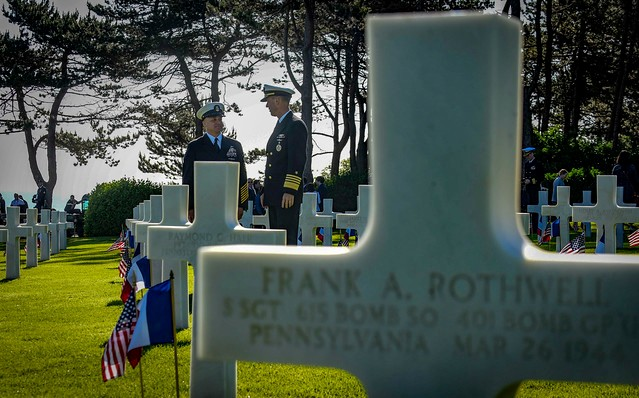 75th Anniversary of the D-Day Landings along the Normandy Coast, Normandy American Cemetery, Omaha Beach, Colleville-sur-Mer, Calvados, Basse-Normandie, France