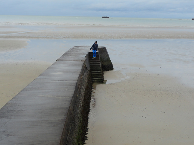 Pier to the Beach, Arromanches, Calvados, Basse-Normandie, France