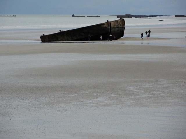 Beach and Mulberry Harbour, Arromanches, Calvados, Basse-Normandie, France