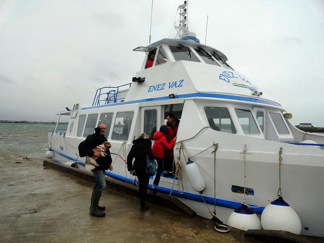 Boarding Vedettes de l'île de Batz Boat at the Pier, Ile de Batz, Finistère, Bretagne, France