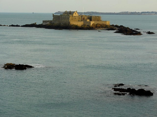 Fort National from Les Remparts with High Tide, Saint-Malo, Ille-et-Vilaine, Bretagne, France