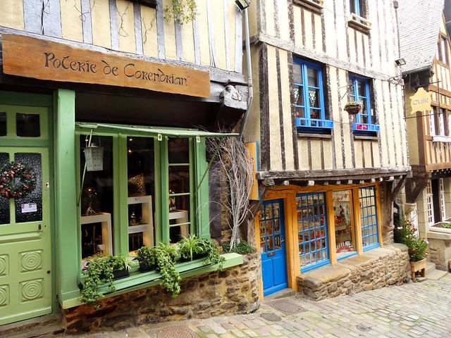 Maisons à Pans de Bois, Rue du Jerzual, Dinan, Côtes-d'Armor, Bretagne, France