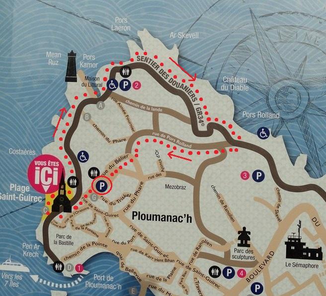 Map of Sentier des Douaniers, Ploumanac'h, Perros Guirec, Côtes-d'Armor, Bretagne, France
