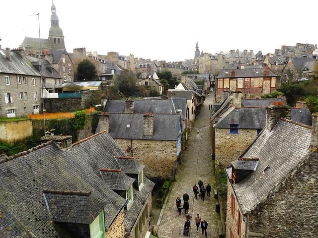 Rue du Jerzual from Les Remparts, Dinan, Côtes-d'Armor, Bretagne, France