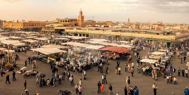 Jamaa el Fna Panorama, Marrakech, Morocco