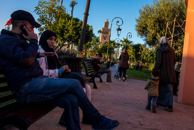 Relaxing at the Park near Koutoubia Mosque, Marrakech, Morocco