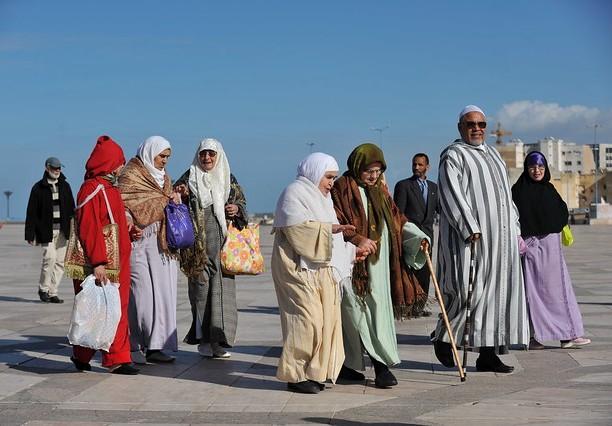 Walking infront of Mosque Hassan II, Casablanca, Morocco