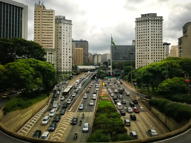 Anhangabaú Tunnel and Avenida 23 de Maio from Viaduto do Chá, São Paulo, Brazil