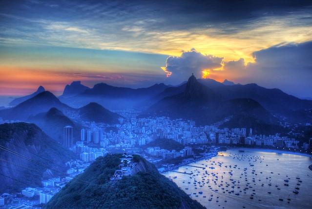 Morro da Urca and Rio at Sunset from Sugarloaf, Rio de Janeiro, Brazil