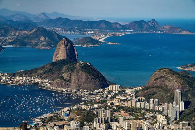 Botafogo and Sugarloaf from the Top of Corcovado, Rio de Janeiro, Brazil