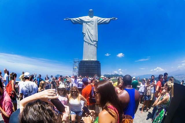 Crowd at Christ the Redeemer, Corcovado, Rio de Janeiro, Brazil