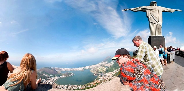 Looking to Lagoa Rodrigo de Freitas and Ipanema from the Top of Corcovado, Rio de Janeiro, Brazil