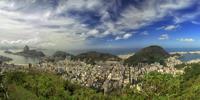 Panorama of Rio de Janeiro from Mirante Dona Marta, Tijuca National Park, Rio de Janeiro, Brazil