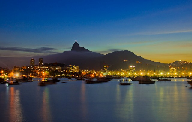 Corcovado and Christ the Redeemer in the Evening, Rio de Janeiro, Brazil