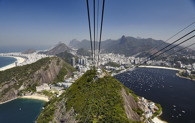Looking to Rio from Second Cable Car between Morro da Urca and Sugarloaf, Rio de Janeiro, Brazil