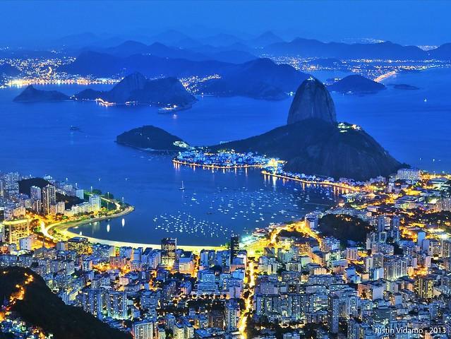 Botafogo and Sugarloaf from the Cristo Redentor, Corcovado, Rio de Janeiro, Brazil