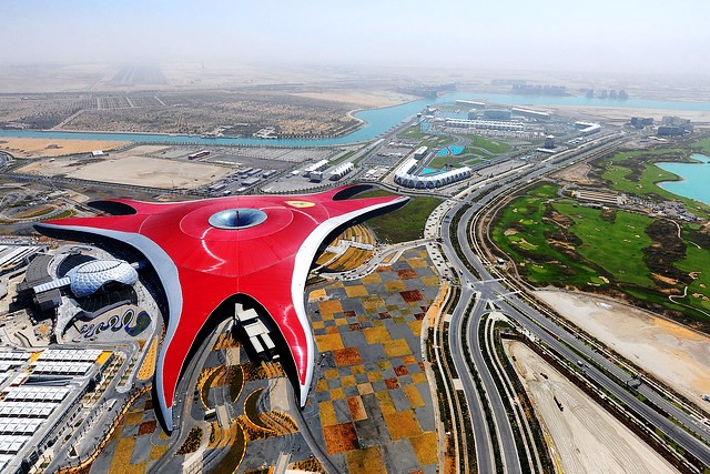 Aerial View of Ferrari World, Yas Island, Abu Dhabi, UAE