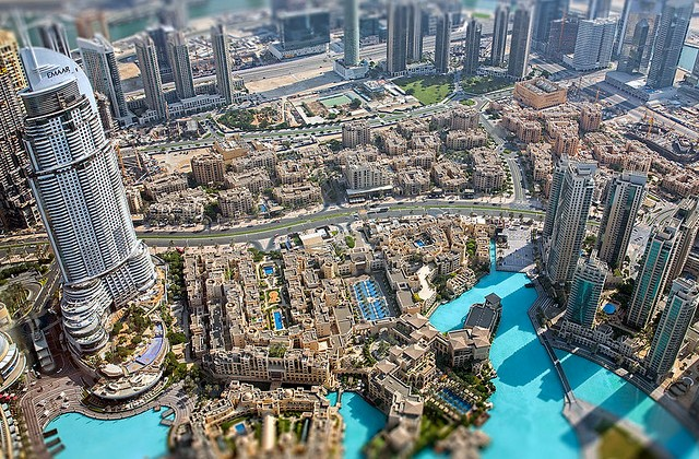 Dubai Mall, Souk Al Bahar and Khalifa Lake from Burj Khalifa, Downtown Dubai, Dubai, UAE