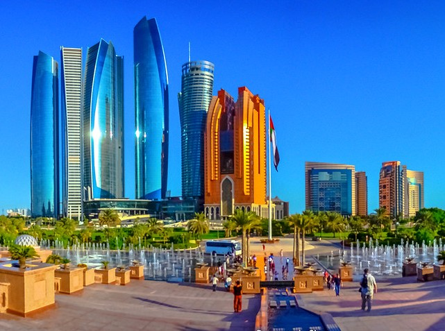 Etihad Towers from the Emirates Palace, Abu Dhabi, UAE