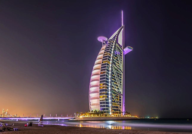 Evening View of Burj Al Arab, Dubai, UAE