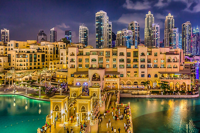 Souk Al Bahar and Khalifa Lake from Dubai Mall, Downtown Dubai, Dubai, UAE
