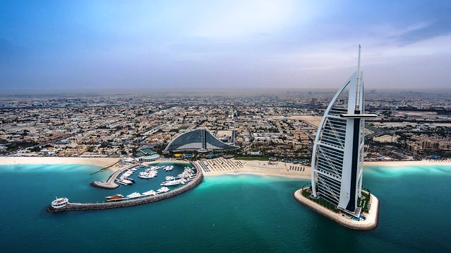 Umm Suqeim Beach (on the left), Jumeirah Beach Hotel (center) and Burj Al Arab (on the right), Dubai, UAE