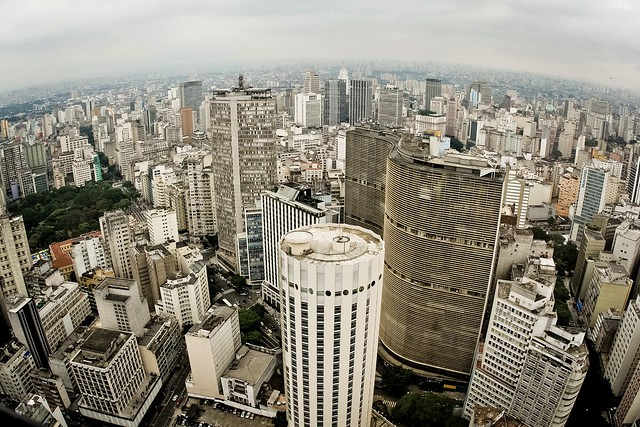 Aerial View of Edifício Copan, Edifício Itália and Centro Neighborhood, São Paulo, Brazil