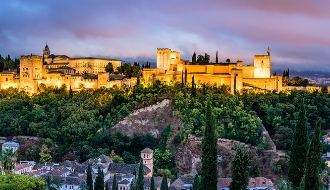 Alhambra in the Early Evening from the Albayzín, Granada, Andalusia, Spain,