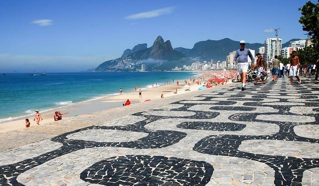 Avenida Vieira Souto and Ipanema Beach with Morro dos Dois Irmãos in the Background, Rio de Janeiro, Brazil