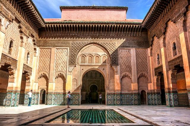 Central Patio, Medersa Ali Ben Youssef, Medina, Marrakech, Morocco
