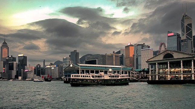 "Central ""Star"" Ferry Pier and Hong Kong Island Skyline, Hong Kong, China"