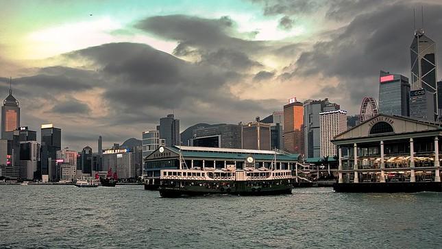 "Central ""Star"" Ferry Pier and Hong Kong Island Skyline, Hong Kong, China"