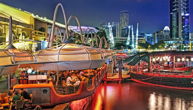 Clarke Quay in the Evening, Singapore River, Singapore