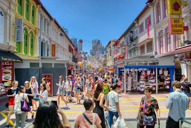 Crowded Pagoda Street, Chinatown, Singapore