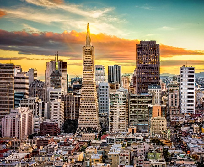 Financial District with Transamerica Pyramid from the Coit Tower, San Francisco, California, United States