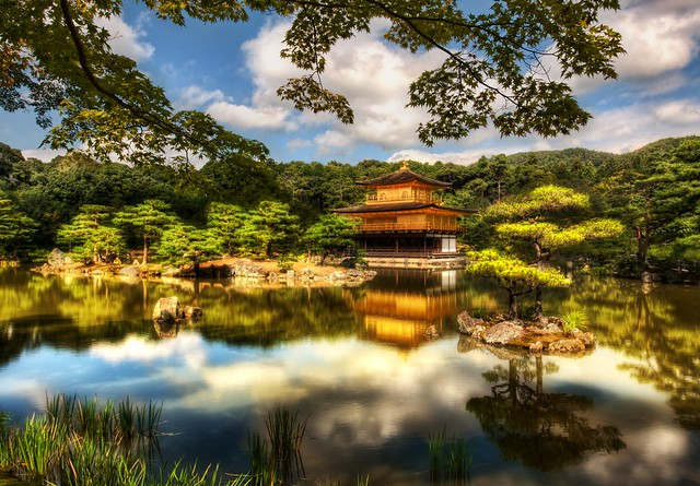 Great View of Kinkaku-ji Temple, The Golden Pavilion, Kyoto, Japan