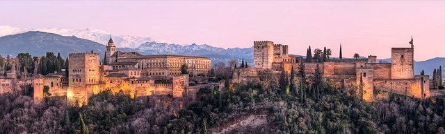Great View of the Alhambra with Sierra Nevada in Background, Granada, Andalusia, Spain