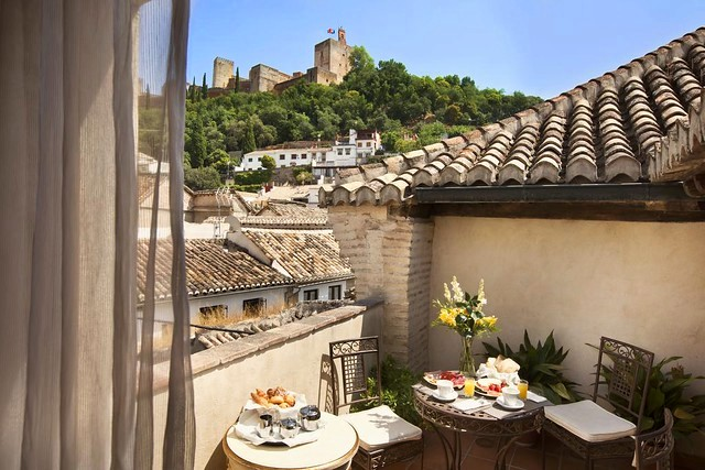 The Alhambra from Hotel Casa 1800, Granada, Andalusia, Spain