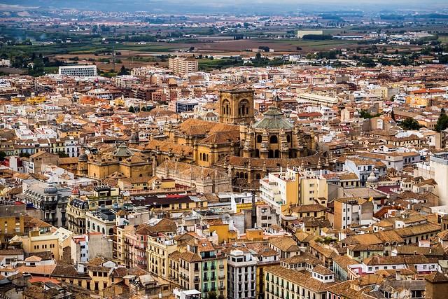 La Catedral de Granada and Gran Vía de Colón, Granada, Andalusia, Spain