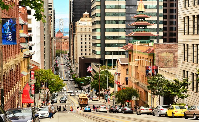Looking Down California Street from Nob Hill, San Francisco, California, United States