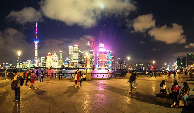 The View of Pudong from The Bund at Night, Shanghai, China