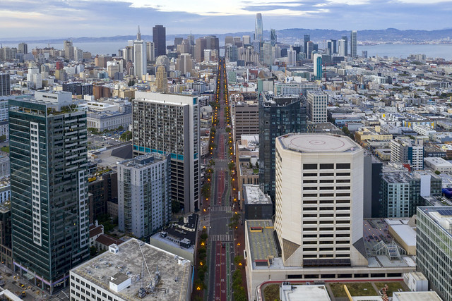 Market Street and the City Center of San Francisco, California, United States
