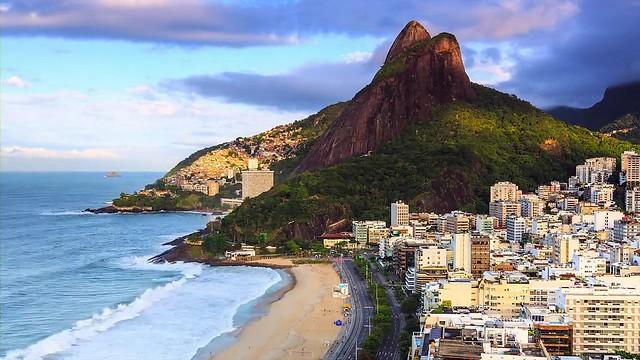 Morro dos Dois Irmãos and Leblon Beach from Ipanema, Rio de Janeiro, Brazil