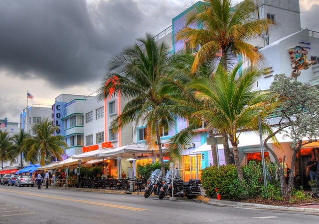 Ocean Drive in a Cloudy Day, Art Deco District, South Beach, Miami Beach, Florida, United States