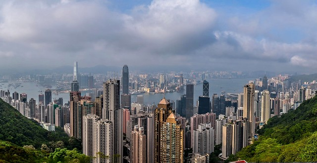 Panorama of Hong Kong from the Victoria Peak, Hong Kong, China
